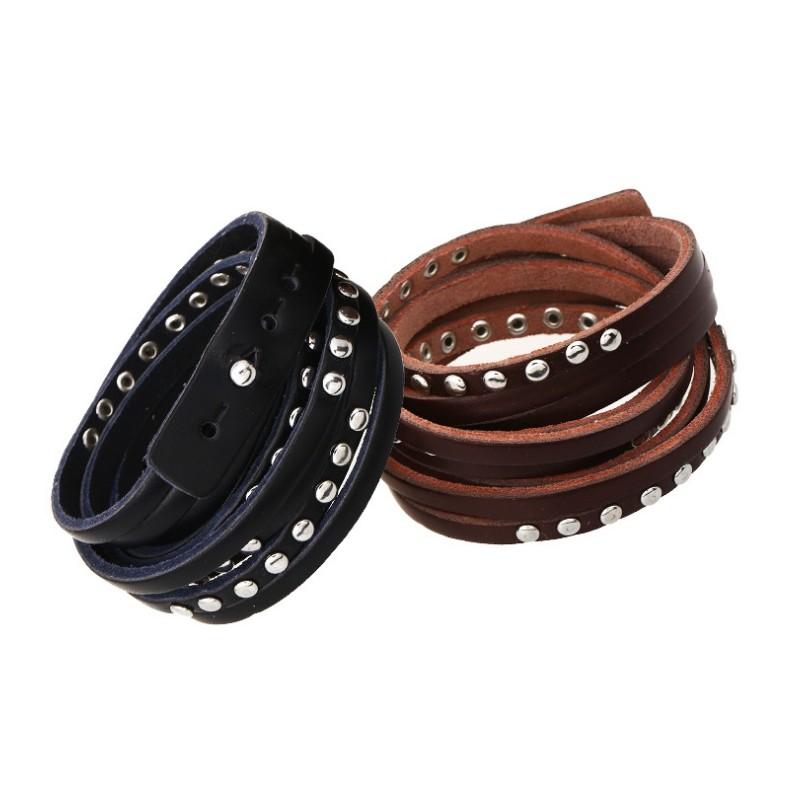 bracelet homme enroul en cuir clout bracelets homme. Black Bedroom Furniture Sets. Home Design Ideas