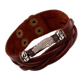 Bracelet homme en cuir avec ornement métallique argenté