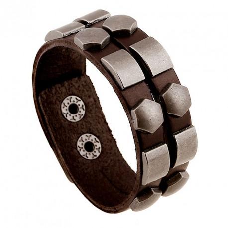 Bracelet homme cuir rivets géométriques