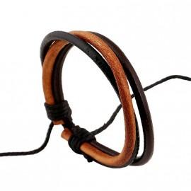 Bracelet homme cuir 3 liens