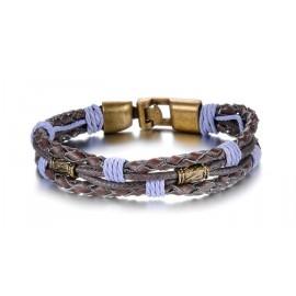 Bracelet homme  en cuir 2 liens tissés