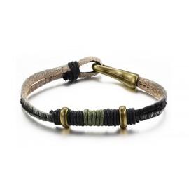 Bracelet homme cuir, bronze et cordon tressé