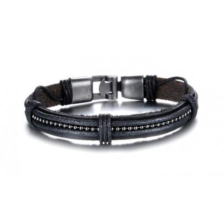 Bracelet homme cuir et chaine boule