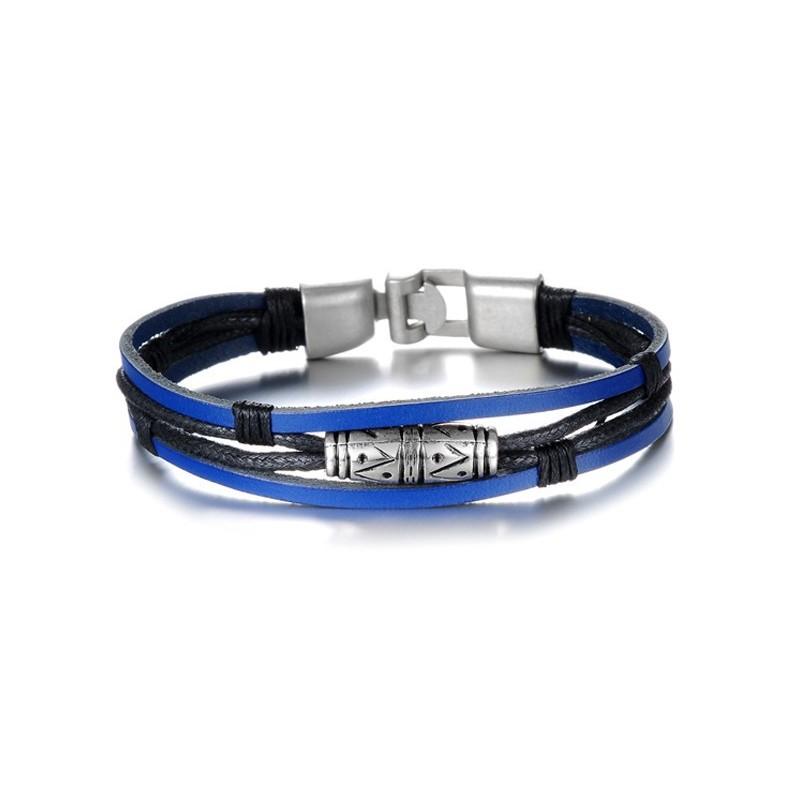 bracelet lani res cuir bleu lectrique bracelets homme. Black Bedroom Furniture Sets. Home Design Ideas