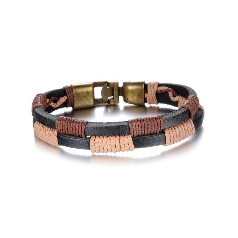 bracelet homme cuir cordon en damier bracelets homme. Black Bedroom Furniture Sets. Home Design Ideas