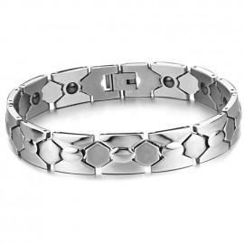 Bracelet homme acier et pierres hématites