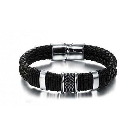 Bracelet homme cuir tressé 2 liens