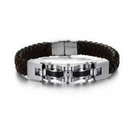 Bracelet homme cuir noir ou marron design massif
