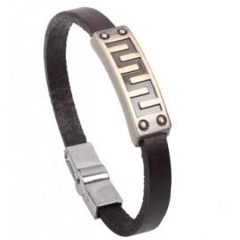 Bracelet homme cuir épais motif géométrique