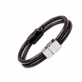 Bracelet en cordon cuir épais 2 liens