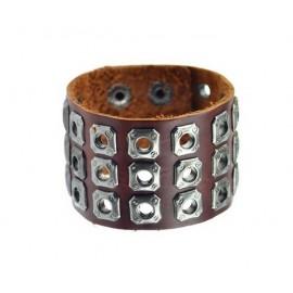 Bracelet de force en cuir oeillets métalliques