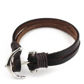 Bracelet homme en cuir encre acier