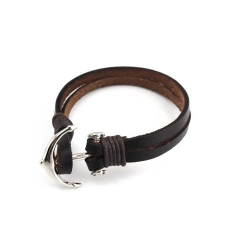 bracelet homme en cuir ancre acier bracelets homme. Black Bedroom Furniture Sets. Home Design Ideas