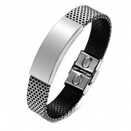 Bracelet homme en cuir PU et acier inoxydable