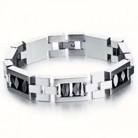 Bracelet articulé acier et ornement hématite