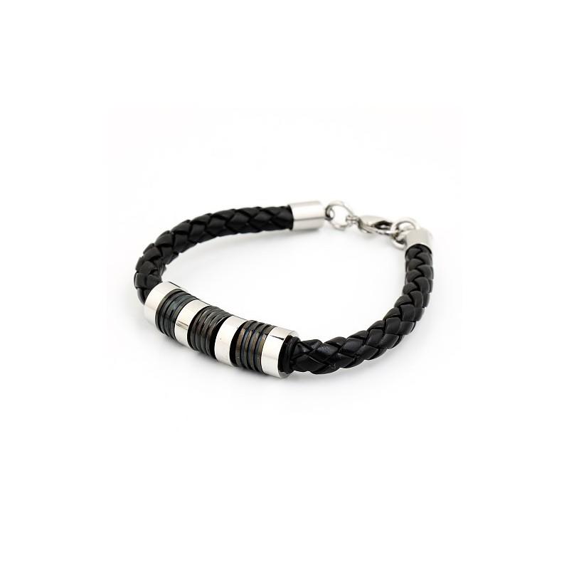 bracelet homme cuir tress noir et breloques acier bracelets homme. Black Bedroom Furniture Sets. Home Design Ideas