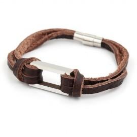 Bracelet homme cuir marron et anneau rectangle