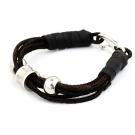 bracelet homme lanières cuir et perles en acier