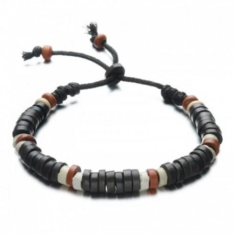 bracelet homme perles de bois style surfeur