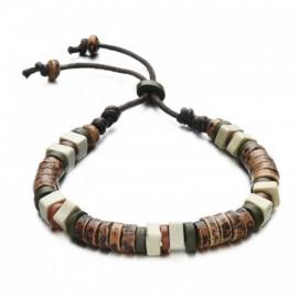 bracelet homme perles de bois naturelles