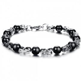 bracelet homme perles et acier