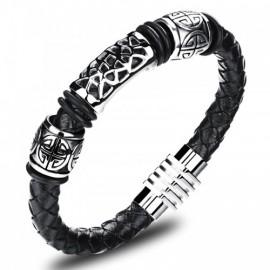 bracelet homme chic en cuir et acier