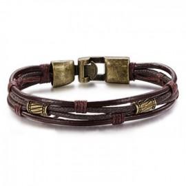 bracelet homme brun foncé et éléments bronze