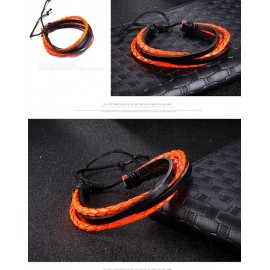 bracelet homme noir et orange