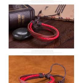 Bracelet homme marron et rouge
