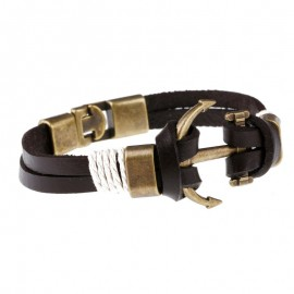 bracelet cuir marine ancre cuivrée