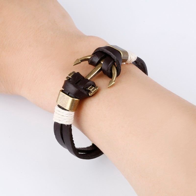 bracelet cuir marine ancre bronze bracelets homme. Black Bedroom Furniture Sets. Home Design Ideas