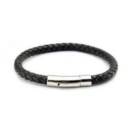 bracelet cuir tressé noir