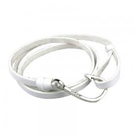 bracelet homme cuir blanc hameçon
