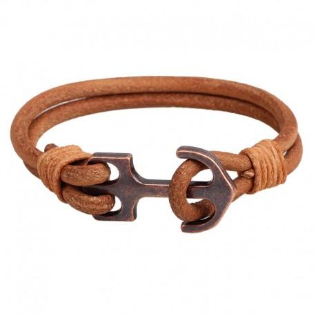 Bracelet homme cuir naturel, fermoir ancre bronze
