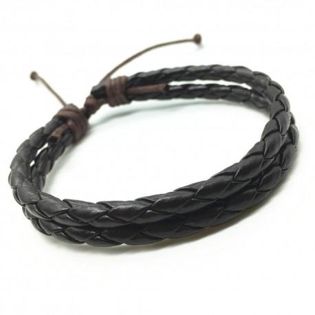 bracelet cuir noir tressé 2 liens