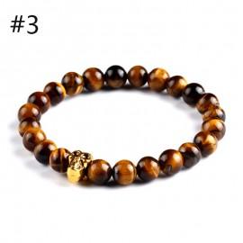 """bracelet perles marron et """"crâne""""doré"""