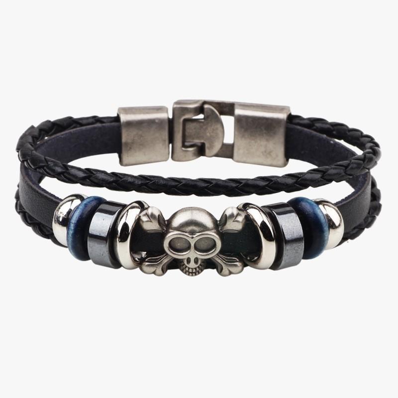 bracelet cuir noir t te de mort bracelets homme. Black Bedroom Furniture Sets. Home Design Ideas