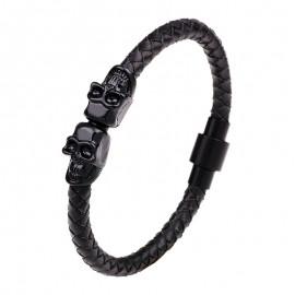 bracelet cuir noir double crâne