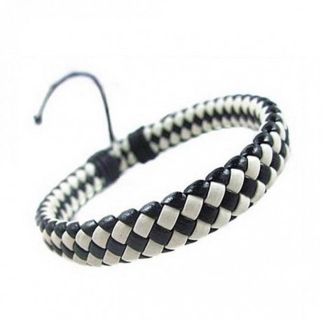 "bracelet cuir ""damier"""