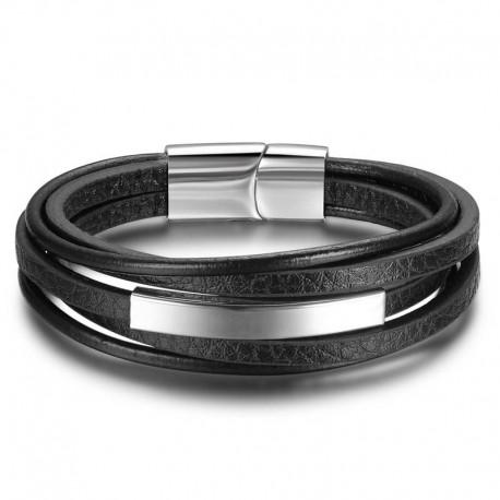 bracelet cuir et acier homme