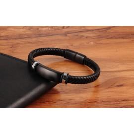 bracelet cuir et acier noir