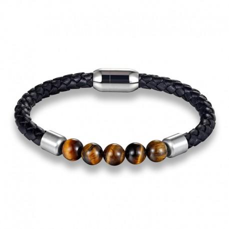 bracelet homme perles et cuir
