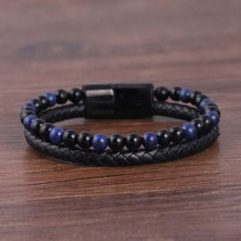 bracelet perles bleu nuit et noires ,et cuir