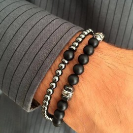 bracelet homme duo perles