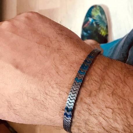 bracelet piéces métalliques 2 tons bleu ,argent