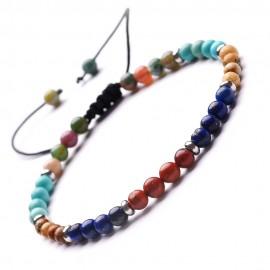 bracelet perles de 4 mm (dominante bleue)