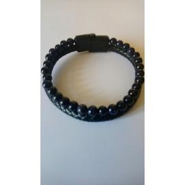bracelet cuir et perles noires