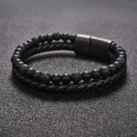 bracelet perles pierre volcaniques et cuir