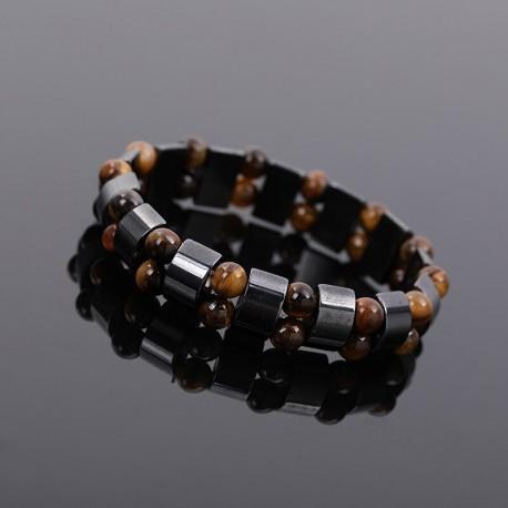 bracelet double hematite et perle oeil du tigre
