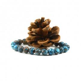 bracelet perles bleues/ vertes